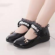 Mädchen Schuhe PU Frühling Herbst Schuhe für das Blumenmädchen Flache Schuhe für Normal Weiß Schwarz Pfirsich Rosa