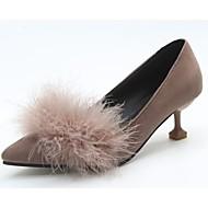 baratos Sapatos Femininos-Mulheres Sapatos Cashmere Outono Conforto Saltos Dedo Apontado Penas Cinzento / Amarelo / Khaki