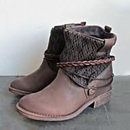 baratos Sapatos Femininos-Mulheres Sapatos Couro Ecológico Primavera / Inverno Conforto / Inovador / Botas da Moda Botas Ponta Redonda Botas Curtas / Ankle Preto /