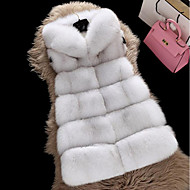 Women's Going out Casual/Daily Simple Fall Winter Fur Coat,Solid Hooded Sleeveless Regular Faux Fur