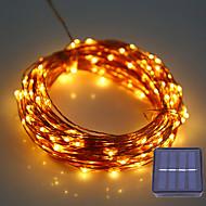 billige -1set hkv® 12m 100led dc 5v solar kobbertråd ledetråd lys utendørs vanntett feilampe for bryllup juledekorasjon