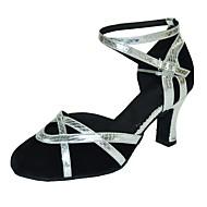 billige Moderne sko-Dame Moderne Semsket fuskelær Sandaler Innendørs Kustomisert hæl Svart Svart og Gull Svart og Sølv
