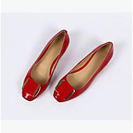 レディース 靴 PUレザー 春 コンフォートシューズ フラット 用途 カジュアル ブラック ダークブルー ライトパープル レッド アーモンド