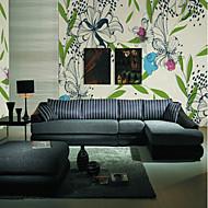 baratos Papel de Parede-Floral Árvores/Folhas 3D Papel de Parede Para Casa Moderna Clássico Rústico Revestimento de paredes , Tela Material adesivo necessário
