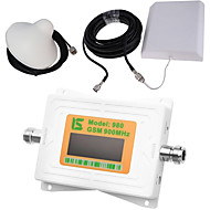 mini intelligent LCD-skjerm gsm980 900mhz mobiltelefon signal booster repeater med utendørs panel antenne / innendørs tak antenne hvit