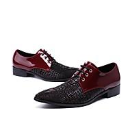 お買い得  紳士靴-男性用 靴 レザー 冬 秋 フォーマルシューズ アイデア オックスフォードシューズ のために 結婚式 パーティー バーガンディー