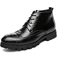 お買い得  メンズブーツ-男性用 靴 エナメル 秋 / 冬 ファッションブーツ / ブーティー / コンバットブーツ ブーツ ブーティー/アンクルブーツ ブラック / Brown / レッド / パーティー