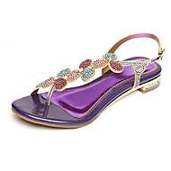 Χαμηλού Κόστους Βιολετί παπούτσια-Γυναικεία Παπούτσια Συνθετική μικροΐνα PU Άνοιξη / Καλοκαίρι Ανατομικό / Πρωτότυπο Σανδάλια Επίπεδο Τακούνι Ανοικτή μύτη Τεχνητό διαμάντι