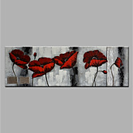 cheap Oil Paintings-Hand-Painted Floral/Botanical Horizontal, Modern Canvas Oil Painting Home Decoration One Panel
