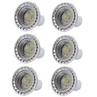 billige Spotlys med LED-6pcs 5W 400lm GU10 LED-spotpærer 1 LED perler COB Mulighet for demping LED Lys Varm hvit Kjølig hvit 110-130V 220-240V