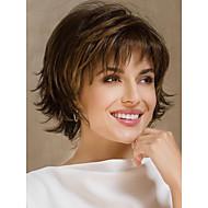 halpa -Naisten Synteettiset peruukit Lyhyt Luonnolliset aaltoilevat Beige Raidoitetut hiukset Pixie-leikkaus Kerroksittainen leikkaus
