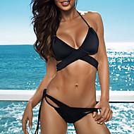 Žene Jednobojni Bandeau grudnjak Bikini Kupaći kostimi Sexy Crn