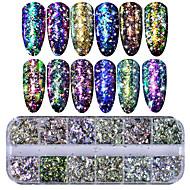 baratos -1conjunto Paetês Nail Glitter Paetês Glitter Powder Nail Glitter Como na Foto Nail Art Design Dicas de uñas