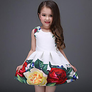 cheap -Kids Girls' Sweet Daily / Holiday Floral Print Sleeveless Polyester Dress White