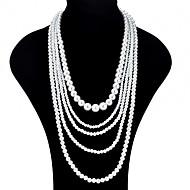 Žene Oblik Ogroman Moda slojeviti Ogrlice Imitacija Pearl Imitacija bisera slojeviti Ogrlice Svečanost Prom Nakit odjeće
