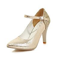 Női Cipő Bőrutánzat Tavasz Ősz Kényelmes Magassarkúak Stiletto Erősített lábujj Flitter Kompatibilitás Esküvő Ruha Arany Fehér Fekete