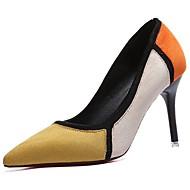 Damen Schuhe PU Winter Komfort Pumps High Heels Stöckelabsatz Spitze Zehe für Kleid Schwarz Gelb Rot