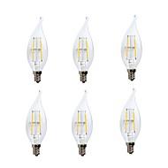 tanie Więcej Kupujesz, Więcej Oszczędzasz-GMY® 6 szt. 2 W 200 lm E12 Żarówka dekoracyjna LED CA10 2 Koraliki LED COB Przygaszanie / Dioda LED / Dekoracyjna Ciepła biel 110-130 V