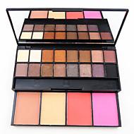 20 Blush Pó Compacto+Sombra para Olhos Espelho Pincéis de Maquiagem Secos Mate Brilho Longa Duração