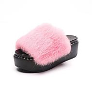 baratos Sapatos Femininos-Mulheres Sapatos Couro Ecológico Verão Creepers Conforto Sandálias Salto Baixo Dedo Aberto Flor para Casual Cinzento Vermelho Verde Azul