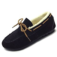 Women's Shoes Nubuck leather PU Winter Fall Comfort Boat Shoes Flat Round Toe for Casual Gray Black