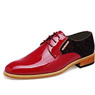 お買い得  紳士靴-男性用 靴 レザー 夏 / 秋 コンフォートシューズ オックスフォードシューズ ブラック / レッド / 結婚式 / パーティー / 革靴