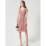 cheap Under $90 Bridesmaid Dresses-A-Line V Neck Knee Length Chiffon Bridesmaid Dress with Side Draping / Criss Cross / Ruched by LAN TING BRIDE®