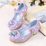 tanie Obuwie dziewczęce-Dla dziewczynek Buty Mikrowłókno Wiosna Jesień Tiny Obcasy dla młodzieży Szpilki Kokarda na Casual Silver Purple Niebieski Różowy