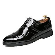 tanie Small Size Shoes-Męskie Buty PU Skóra Oxford Wiosna Jesień formalne Buty Zabawne Comfort Oksfordki Koronka na Casual Biuro i kariera Gold Black