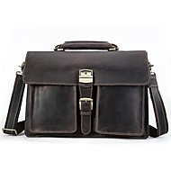 Men Bags Cowhide Briefcase Pockets for Casual Office & Career All Season Brown