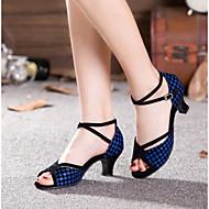 baratos Sapatilhas de Dança-Mulheres Sapatos de Dança Latina Flocagem / Glitter / Paetês Sandália / Salto / Têni Recortes / Bloco de Cor / Lantejoula Salto Cubano