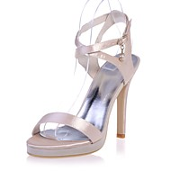 Women's Shoes Satin Spring / Summer Basic Pump Sandals Stiletto Heel Open Toe Buckle Pink / Champagne / Ivory / Party & Evening