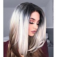 Syntetisk hår Parykker Kinky Glat Natural Hairline Frisure i lag Blonde Front Naturlig paryk Lang Brun