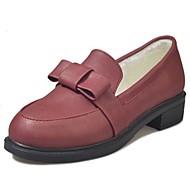 Mujer Zapatos Cuero Patentado Primavera verano Confort Zapatos de taco bajo y Slip-On Tacón Cuadrado Dedo redondo Pajarita Negro / Wine kOIWCafc