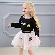 Toddler เด็กผู้หญิง Street Chic ลายต่อ / ลายปัก แขนยาว ปกติ ไหมสังเคราะห์ / เส้นใยสังเคราะห์ ชุดเสื้อผ้า สีดำ / น่ารัก