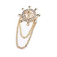 Homens Broches - Imitações de Diamante Coreano, Fashion Broche Dourado / Prata Para Diário / Formal
