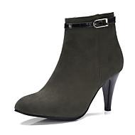 baratos Sapatos de Tamanho Pequeno-Mulheres Sapatos Pele Nobuck Inverno Outono Botas da Moda Curta/Ankle Botas Salto Agulha Dedo Apontado Botas Curtas / Ankle Presilha para