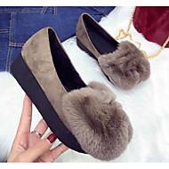 זול מוקסינים לנשים-נשים נעליים פרווה אביב סתיו נוחות נעליים ללא שרוכים שטוח ל קזו'אל שחור ירוק צבא חאקי