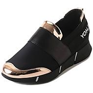baratos Sapatos Femininos-Mulheres Couro Ecológico Outono / Inverno Conforto Tênis Caminhada Sem Salto Ponta Redonda Dourado / Preto