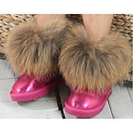 tanie Obuwie dziewczęce-Dla dziewczynek Buty Skóra Zima Jesień Śniegowce Comfort Buciki na Casual Black Fuchsia Brown