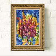 billige Innrammet kunst-Innrammet Kunstrykk Abstrakt Tegning Veggkunst, Aluminium Legering Materiale med ramme Hjem Dekor Rammekunst Stue Innendørs