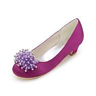baratos Sapatos de Menina-Para Meninas Sapatos Cetim Primavera Verão Sapatos para Daminhas de Honra Saltos Pedrarias para Azul / Champanhe / Ivory / Casamento
