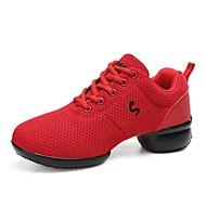 baratos Sapatilhas de Dança-Unisexo Tênis de Dança Tule Têni Recortes Salto Meia Pata Personalizável Sapatos de Dança Vermelho