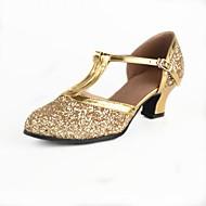 baratos Sapatilhas de Dança-Mulheres Sapatos de Dança Moderna Paetês Salto Recortes / Lantejoula Salto Personalizado Personalizável Sapatos de Dança Dourado / Prata