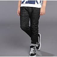 Drenge Jeans Ensfarvet Simpel, Bomuld Forår Efterår Aktiv Sort