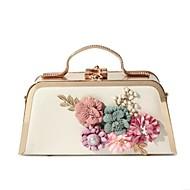 baratos -Mulheres Bolsas Couro Ecológico Bolsa de Ombro Botões Flor para Casual Todas as Estações Dourado Branco Preto Rosa Roxo