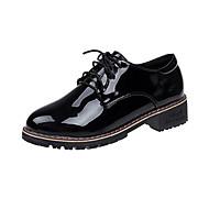 여성용 구두 PU 봄 가을 조명 신발 옥스포드 플랫 라운드 막상 캐쥬얼 용 레이스-업 블랙