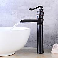 billige Rabatt Kraner-Art Deco/Retro Centersat Foss Keramisk Ventil Enkelt Håndtak Et Hull Olje-gnidd Bronse, Baderom Sink Tappekran