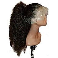 cheap Human Hair Wigs-Luffy Unprocessed Mongolian Human Hair Kinky Curly 10-24 Inch 13*6 Lace Front Wig 130% Density Pre Plucked  Front Lace Wig Baby Hair Bleached Knots