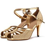 baratos Sapatilhas de Dança-Sapatos de Dança Latina Arrastão / Courino Sandália / Salto Recortes Salto Personalizado Personalizável Sapatos de Dança Dourado